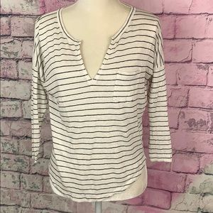 Madewell 100% linen striped deep V-neck shirt S